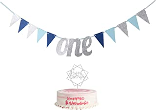 YUINYO Happy Birthday Banners - 2-Piece Set First Birthday One Banner Highchair Banner with Silver Glitter One Acrylic Cak...