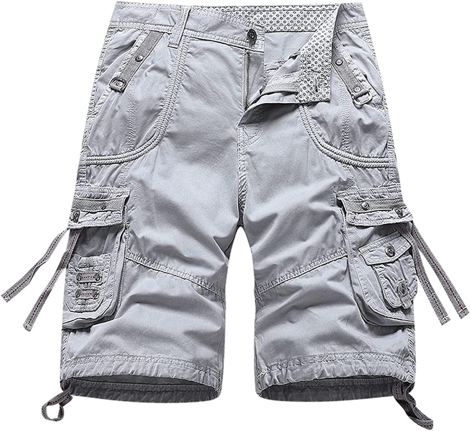 Shorts for Men Drawstring Solid Pocket Knee Shorts Casual Plus Size Tooling Sports Shorts Summer Casual Baggy Trousers
