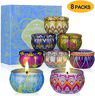 YYCH Scented Candles Gift Set (Lemon, Fig, Lavender, Spring Fresh,Rose ,Jasmine,Vanilla,Bergamot) Soy Wax Tin Candles, Natural Fragrance Candles for Stress Relief and Aromatherapy Candles Set of 8.