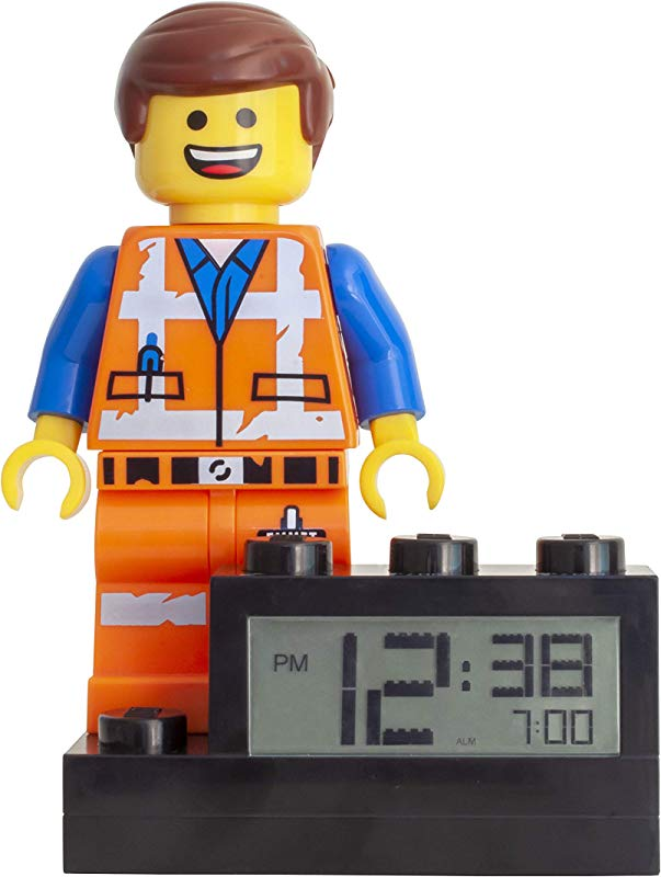 ClicTime 9003967 Kids Minifigure Light Up Alarm Colour Plastic 9 5 Inches Tall LCD Display Boy Girl Official Lego Movie 2 Emmet Clock