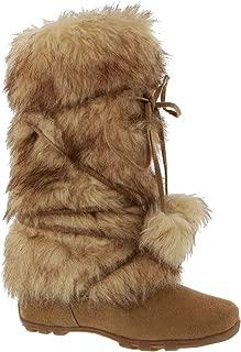 Talia-Hi Women Mukluk Faux Fur Boot Mid Calf Warm Winter Snow Fashion Trendy Booties