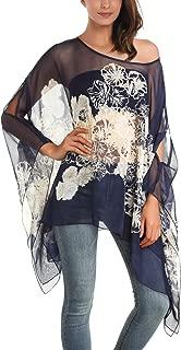 Women's Floral Printed Chiffon Caftan Poncho Tunic Top