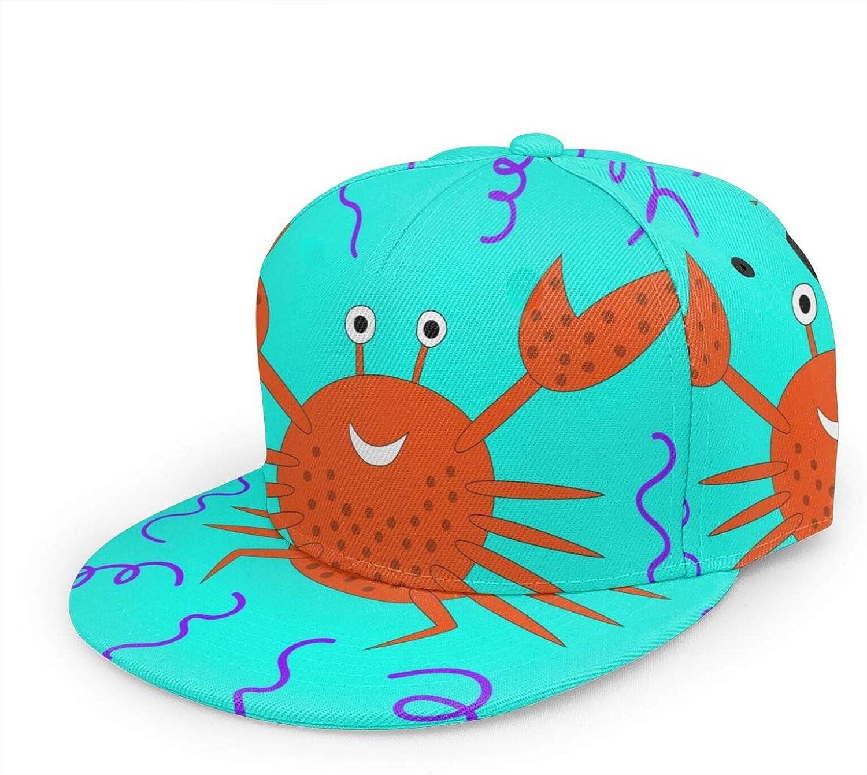IBILIU Cartoon Crab Hat Baseball Cap Women Men,Funny Smiling Sea Animal Cute Red Crab Flat Brim Baseball Hat Hip Hop Snapback Trucker Hat