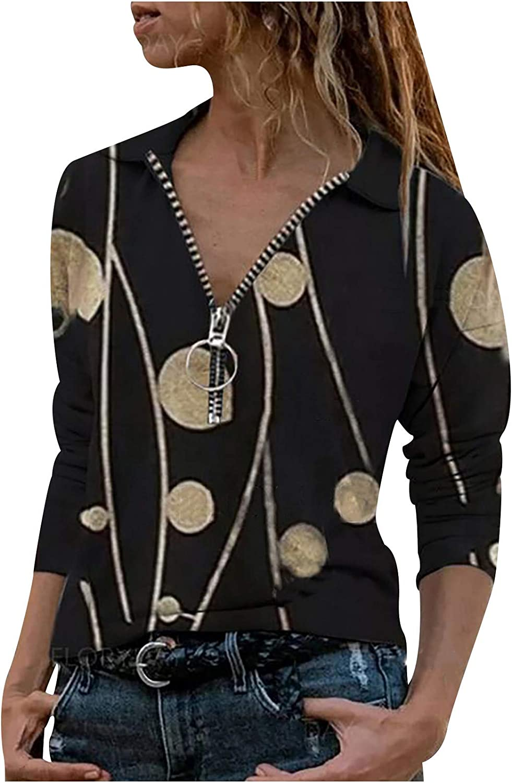 Qopobobo Womens Tops,Womens Zipper Letter Print Short Sleeve Top Casual V-Neck Blouse Shirts Slim Fit Tee Tunics Shirt