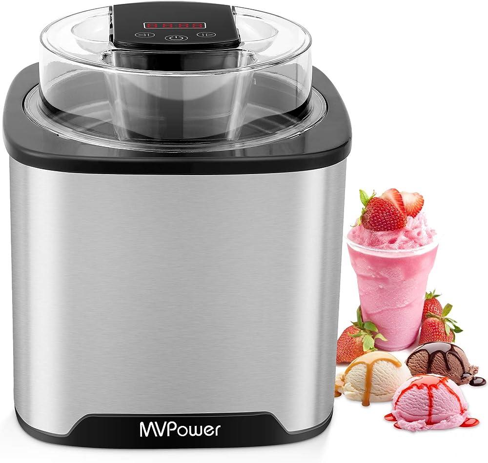 Mvpower gelatiera da 2 l, con timer, display lcd, macchina per gelato in acciaio inox, per yogurt e sorbetto