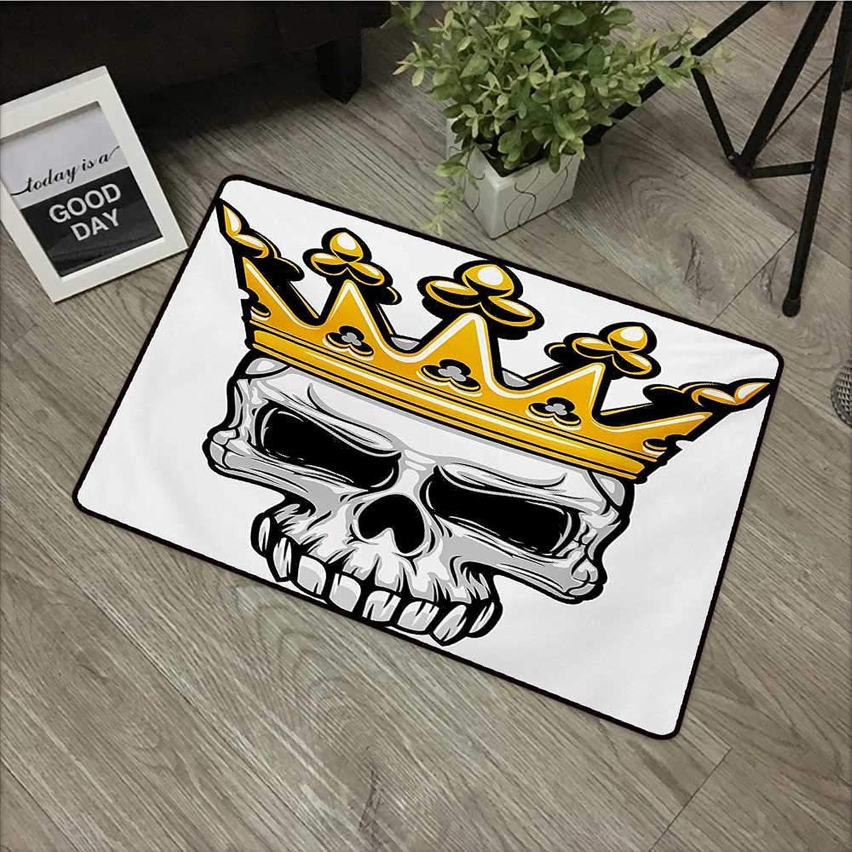 Bathroom Anti-Slip Door mat W31 x L47 INCH King,Hand Drawn Crowned Skull Cranium with Cgoldnet Tiara Halloween Themed Image,golden and Pale Grey Non-Slip Door Mat Carpet