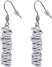 ParticolarModa Orecchini da donna pendenti con nodini intrecciati lucido diamantato martellato in alluminio e acciaio fatt...
