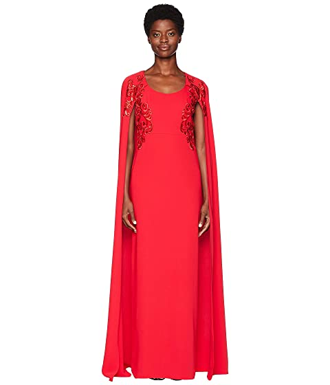Marchesa Cape Gown w/ Sequins and Embroidery
