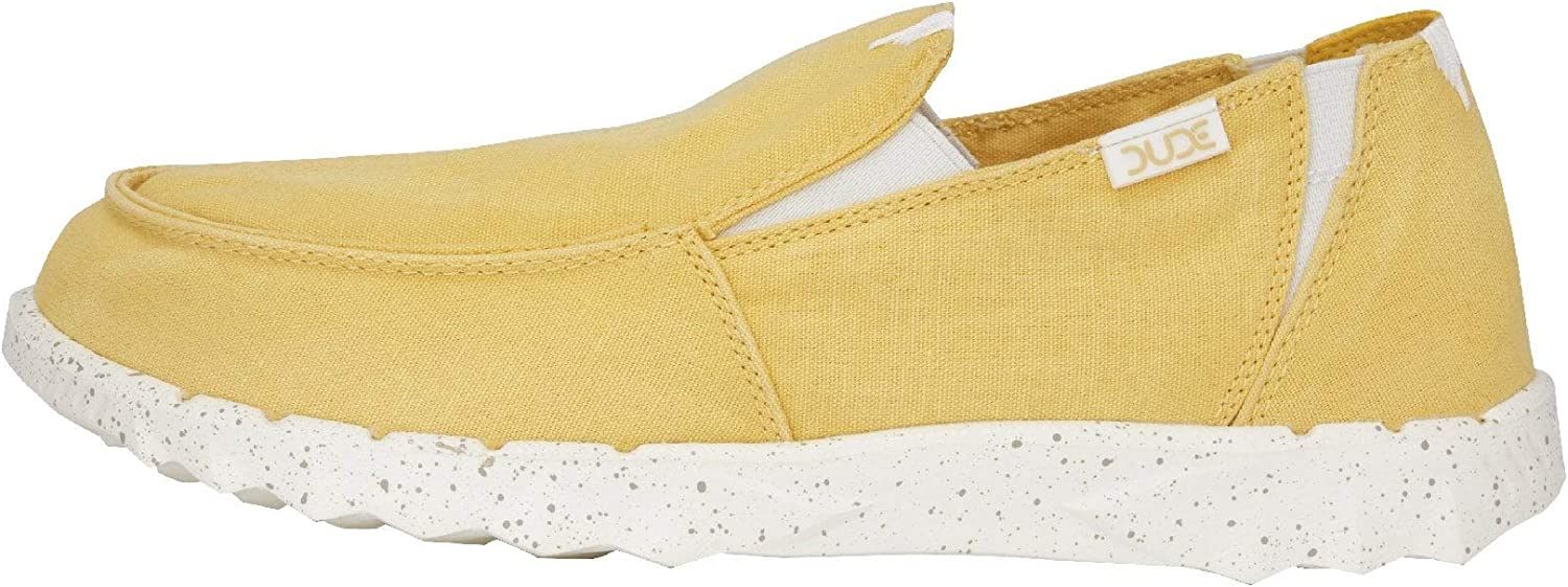 Dude shoes Hey Men's Farty Washed Yellow Slip on Mules