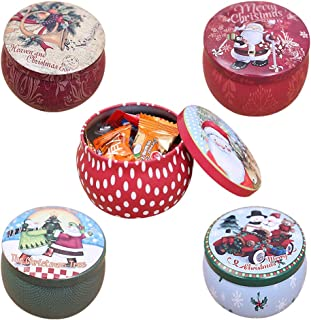 FineInno 5 Packs Christmas Tinplate Tins Jar Round Candy Box Sweetie Case Storage Can Cups for DIY Candle Tea,Coffee,Jewelry,Party Favors,and Gifts (5 pcs candy box)