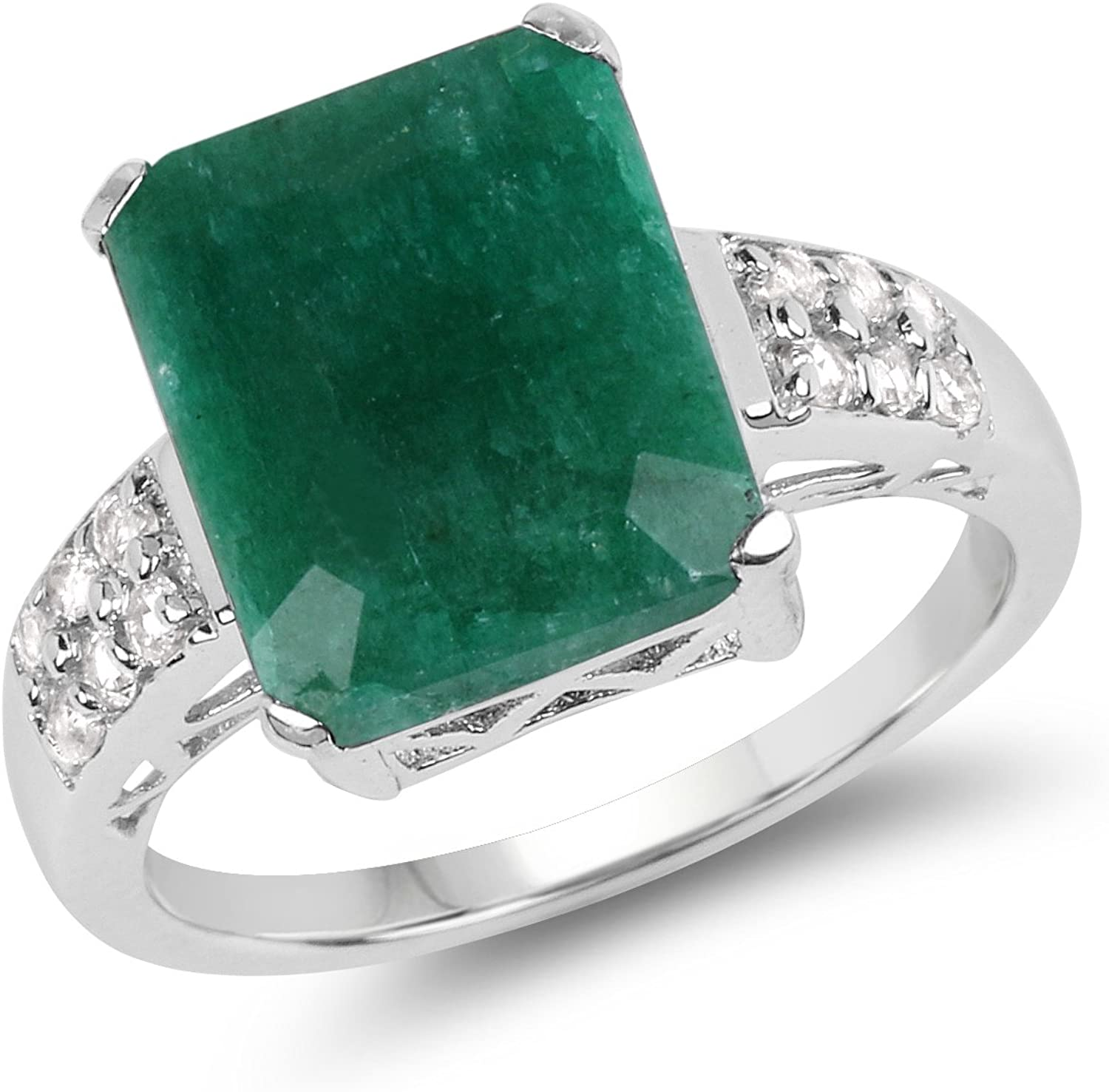 6.54 Carat Dyed Emerald and Daily bargain sale White .925 Sterling Bargain sale Topaz Rin Silver