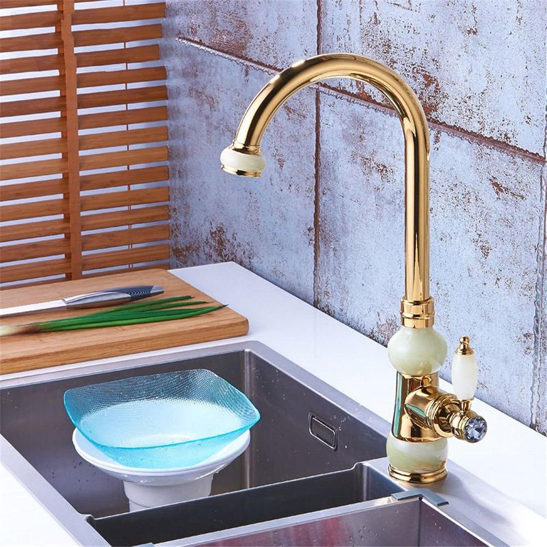 Moderne einfacheKupfer hei und kalt Wasserhhne Küchenarmatur Gold überzogene Spüle kann gedreht werdenKupfer wei Jade hei und kalt Einlochmontage Becken Wasserhahn Geeignet für Badezimmer Küche