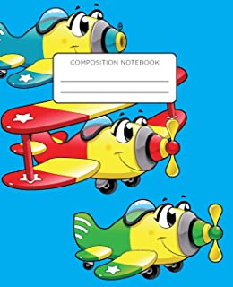 Composition Notebook: Cartoon Airplane Blue Background. School Exercise Journal with Wide Ruled Paper for Middle and Eleme...