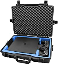 Casematix Waterproof Hard Gaming Console Case Compatible with PS4 Pro, 2 Playstation 4 Pro Dual Shock Controllers or Wireless Move Motion and Cables , Includes Case Only