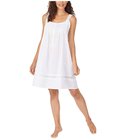 Eileen West Cotton Dobby Stripe Woven Sleeveless Short Nightgown (White) Women