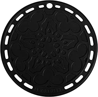 LE CREUSET Salvamanteles/Posavasos de Silicona con Orificio para Colgar, Tradición, Redondo, Negro, 20 cm