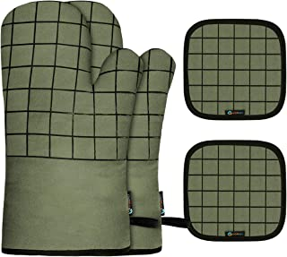 Slopehill Oven Mitts and Pot Holders, Heat Resistant Kitchen Bake Gloves Safe Trivet Mats 4 Pieces, Soft Cotton Lining with Non-Slip Surface for Cooking, Baking, Grilling, Barbecue (Green)