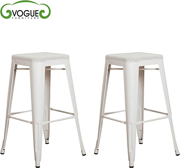 Vogue Furniture Direct Barstool 30 Backless Top Mesh Metal Stools WHITE Set Of 2 VF1571016