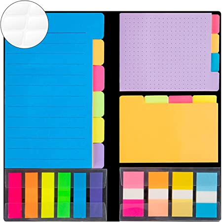 JARLINK 976-in-1 Divider Sticky Notes Set, Super Sticky Page Markers Prioritize with Color Coding, 78 Ruled, 80 Dotted, 80 Blank, 500 Index Tabs and 238 Labels