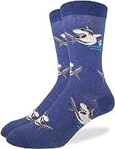 Good Luck Sock Men's Shark Crew Socks - Blue, Adult Shoe Size 7-12