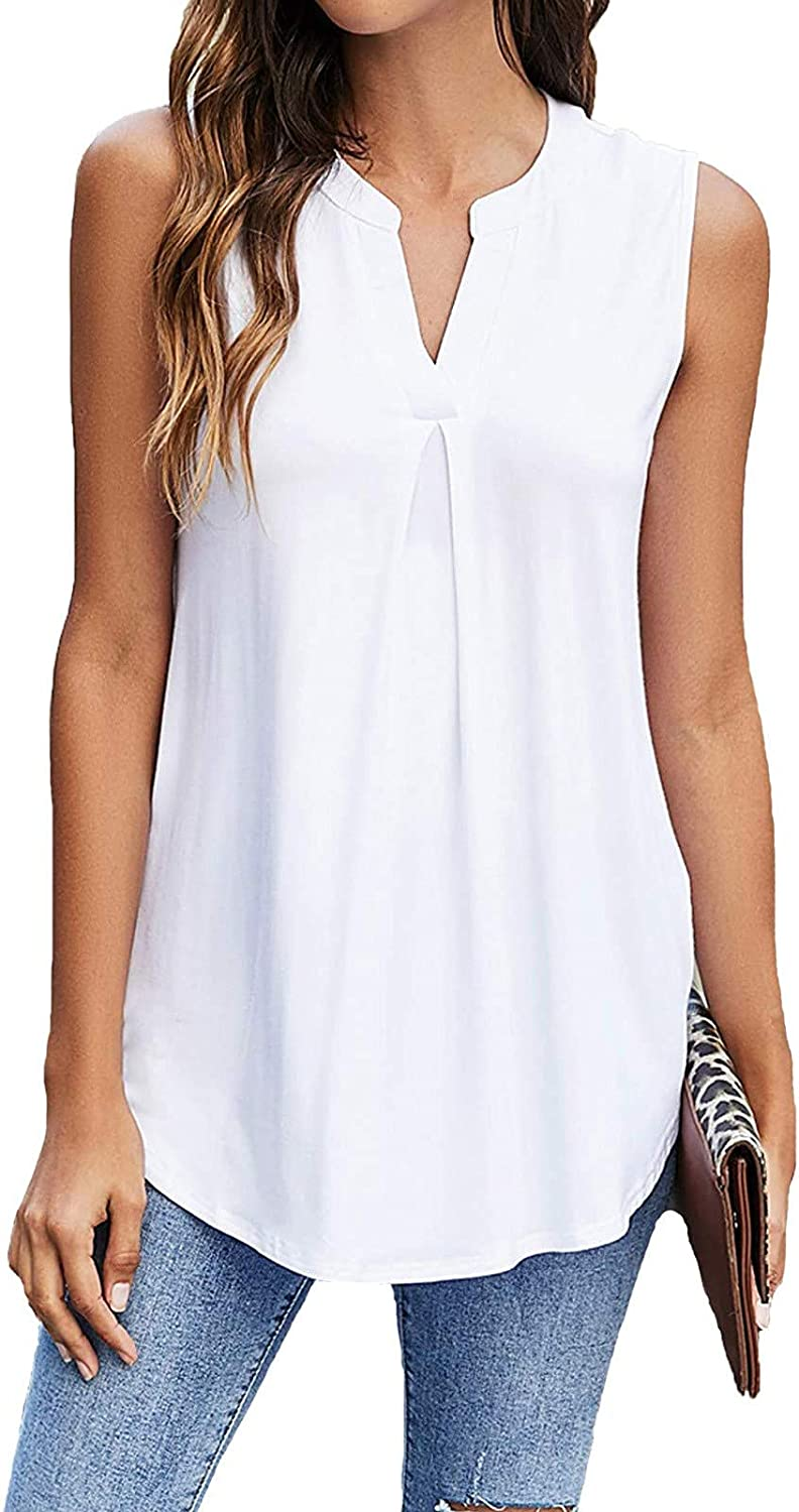 Tank Tops for Women, Womens Plus Size Casual Summer Loose Fit Sleeveless Tank Vest Tees Shirts Blouses Tunics