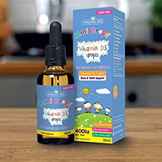 Natures Aid Vitamin D3 Drops for Infants and Children (400 iu/5 ug, 50 ml, Dropper Included, Sugar Free, Made in the UK) Newborn to 5 Years