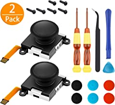 [New Version] 2 Pack 3D Left/Right Analog Replacement Joystick Thumb Sticks Sensor Caps for Nintendo Switch Joycon Controller, Include Full Repair Tool Set(19 in 1)