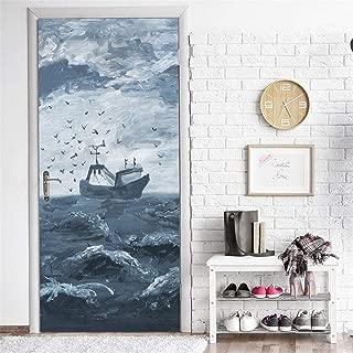 LXBHX Vinilo Para Puerta Póster Para Puerta Papel Pintado Para Puerta Hermosa Embarcación Con Vistas Al Mar 80X210Cm 3D Habitaciones De Vinilo Etiqueta De La Puerta Papel Tapiz Murales Pegatinas