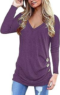 Yidarton Women Long Sleeve V Neck Tunic Tops Blouse Casual Side Buttons T Shirts