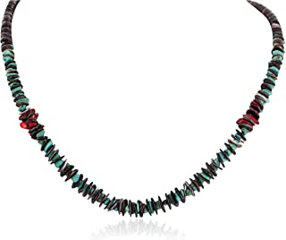 $340Tag Silver Navajo Certified Turquoise Graduated Coral Native Necklace 18232 Made by Loma Siiva