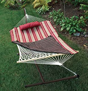 Algoma Net Company 8912 Natural Cotton Rope Hammock with Stand, 52 x 76