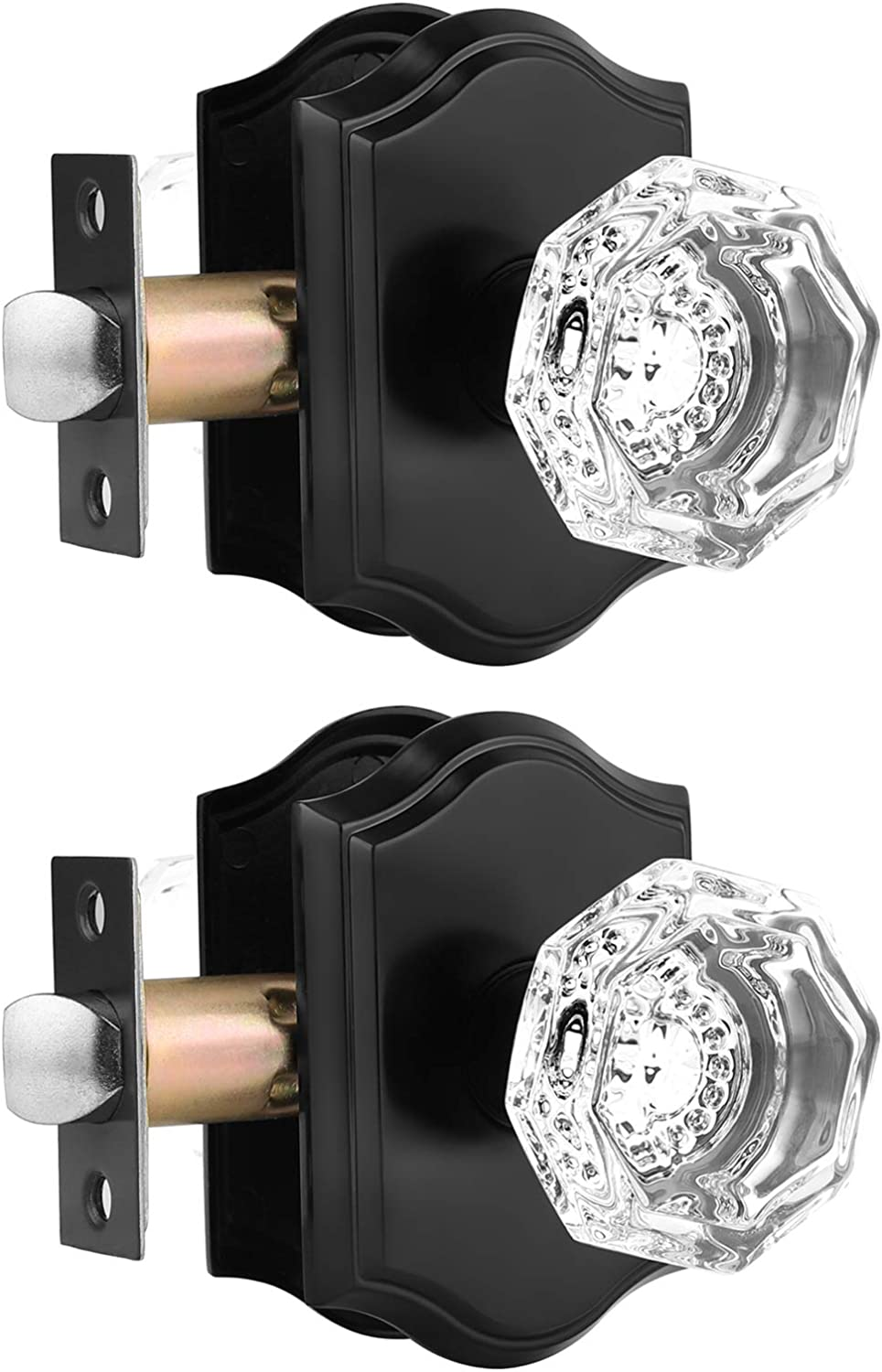 Clear Crystal Door Knobs with Octagon Diamond,Glass Passage Knobs for Hallway Closet,Vintage Classic Interior Door Handles Pulls Non-Locking,Matte Black Finished,1Pack