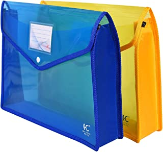 File Folders Expandable Poly Envelope File Wallet 3.1 inch Expansion 2 Pack (Blue, Yellow)