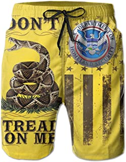 Don't Tread On Me Flag Department of Homeland Security Men's Beach Shorts Swim Trunks - Swimsuit Athletic Shorts