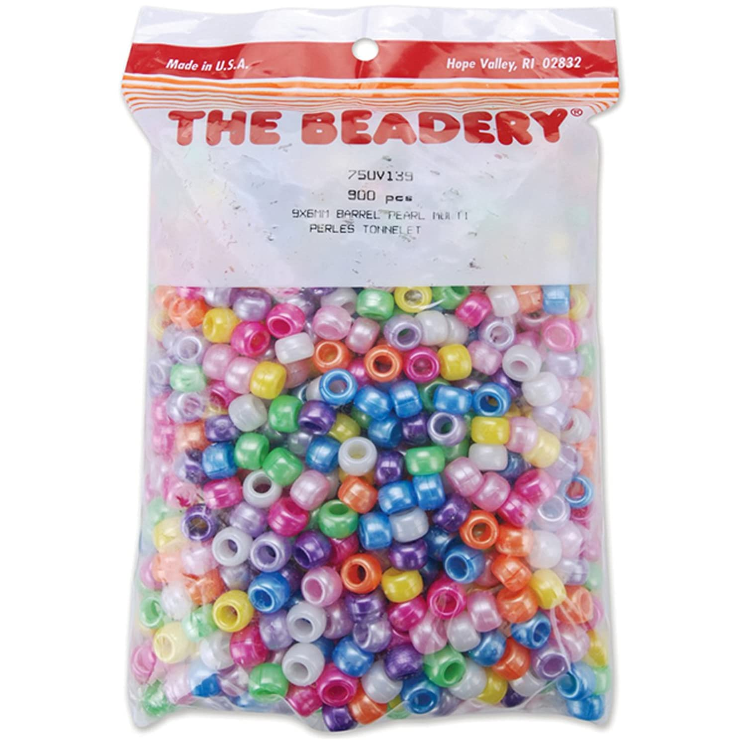 The Beadery Pony Beads 6x9mm, 900/Pkg: Pearl Multi