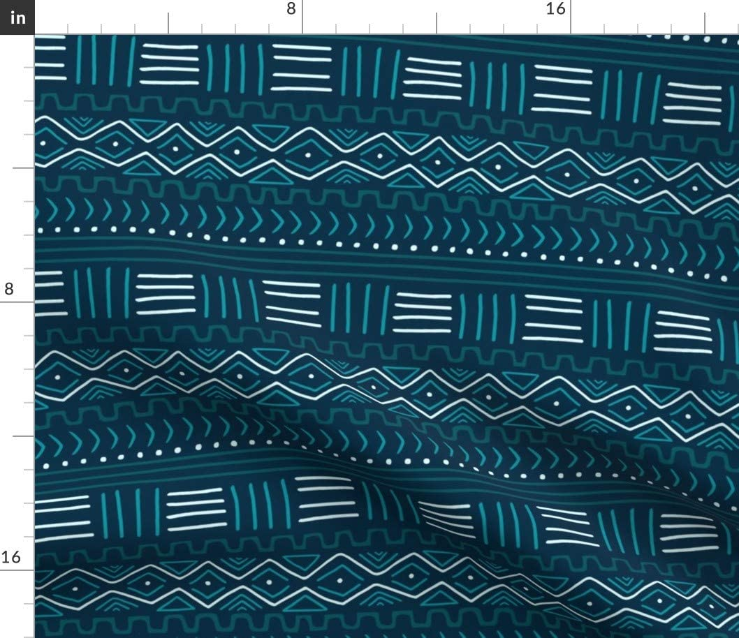 Super beauty product restock quality top! Spoonflower Fabric - Mudcloth Teal African Blue Boho Cloth L Detroit Mall Mud