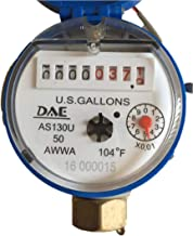 """DAE AS130U-50P 1/2"""" Water Meter with Pulse Output, Measuring in Gallon + Couplings"""