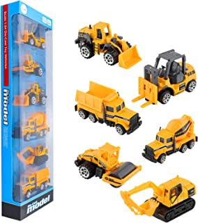 BenRich 6 Piece Mini Die Cast Car 1/64 Scale Engineering Vehicle Construction Site, Dump Truck, Excavator Forklift Road Roller Bulldozer Tank Lover for Alloy Model Toys for Boys Girls Birthday Gift