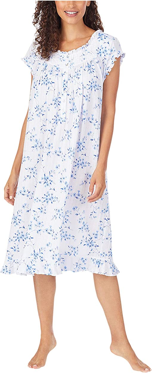 White Ground Blue Mono Floral