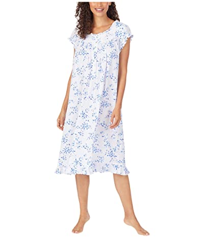 Eileen West Cotton Modal Pointelle Knit Cap Sleeve Waltz Nightgown (White Ground Blue Mono Floral) Women