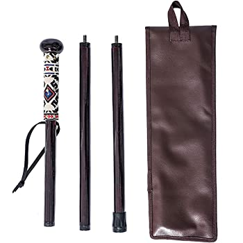 48 In Manual Woodworker Owl Take A Hike Compass Folding Walking Stick with Travel Pouch Long,Multicolor