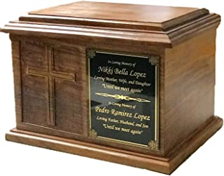 NWA Extra Large Cross Wooden Funeral Cremation Ash Urn, Companion Human Cremation Urn, Double Urn with Customized Name Plate