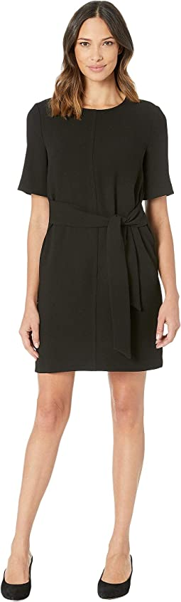 Short Sleeve Parisian Crepe Belted Dress