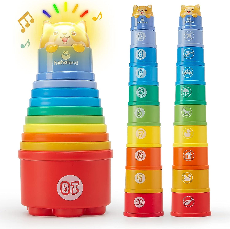 Cubos Apilables Juguetes Bebes 1 año Tazas Apilables Arcoíris con Luces e Sonidos, Montessori Juguetes Bebes 6-12 meses Tazas de Anidación Apilable Educativo Juguetes Niños 1 año 2 años, 10 Piezas