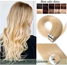 S-noilite Rooted Tape in Human Hair Extension Glue in Remy Human Hair Piece Seamless Skin Weft Invisible Double Sided Tape Full Head Straight 20 Pcs 30 Gram 18Inch #613 Bleach Blonde