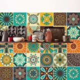 (24 Piezas) Pegatinas para Azulejos tamaño 10x10 cm PS00181 Adhesivo de Vinilo Decorativo para Azulejos de baño y Cocina