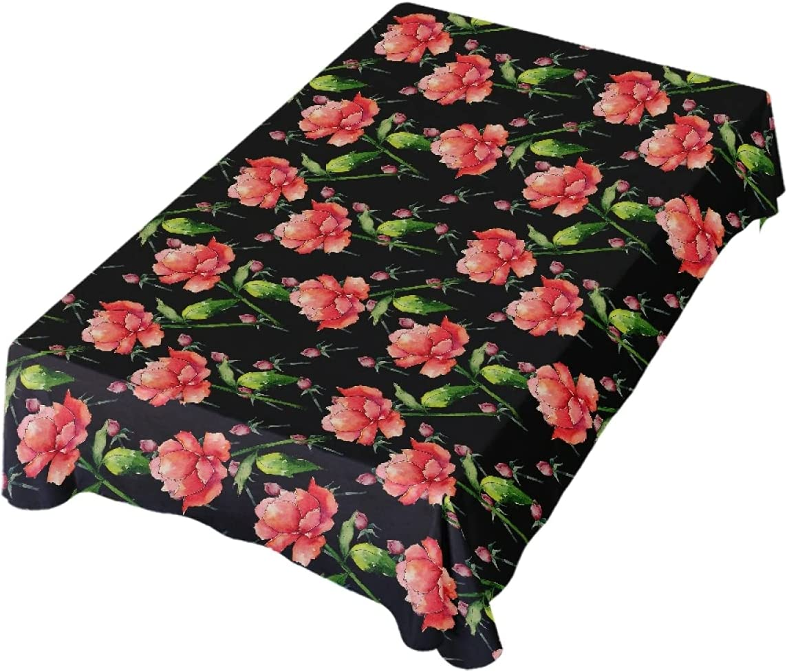 Sales Omaha Mall Romanti Rectangle Tablecloth Wildflower Red 60 Peony Table Cloth
