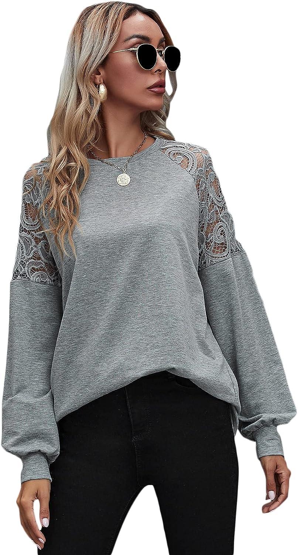 MakeMeChic Women's Contrast Lace Drop Shoulder Long Sleeve Sweatshirts Top