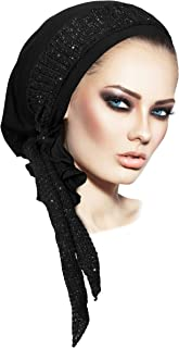 Stunning black boho chic pre tied headscarf with black & silver knit wrap - 123