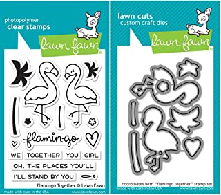 Lawn Fawn Flamingo Together Stamp (LF1173) and Die (LF1174) Set